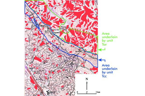 Fig.4. Red areas are large landslide deposits in the Oakland area. Note that many more landslide deposits cover the area underlain by unit Tor than the area underlain by unit Tcc. Source: USGS MF-493