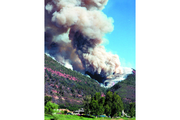 Fig. 1. Homeowners and emergency managers are still coping with debris flows and the aftermath of the 2002 Missionary Ridge wildfire near Durango, CO. Credit: P. Winkworth