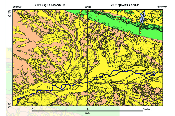 Fig. 1. Simplified geologic map of the Rifle and Silt quadrangles in Garfield County, CO. Yellow indicates unconsolidated sand and gravel deposits. Yellow with black dots indicates deposits of wind-blown silt (loess). Credit: USGS