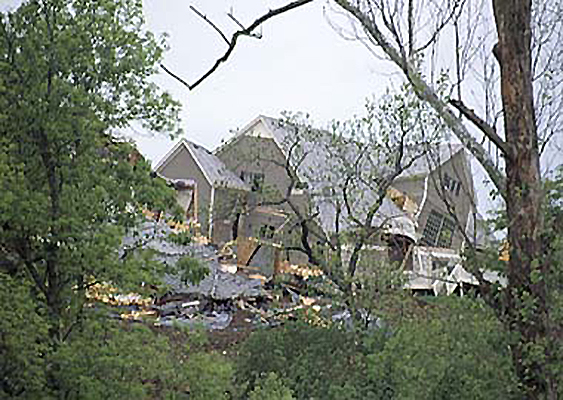 Fig. 1. A 1995 landslide in Overland Park, Kansas, destroyed two homes and damaged four lots. Credit: Kansas Geological Survey