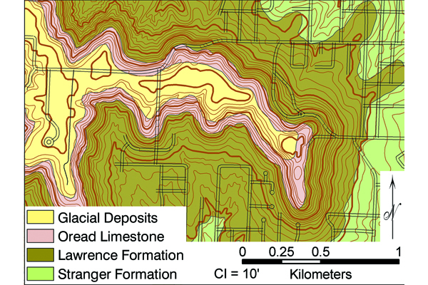 Fig 2. Part of the geologic map of Leavenworth County, KS. Leavenworth County is in the Kansas City metropolitan area. Credit: McCauley (1998)