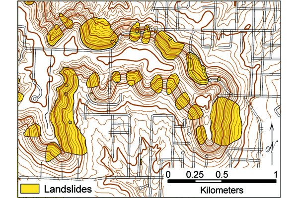Fig 3. A map showing landslides in a portion of the city of Leavenworth. Credit: Adapted from Olmacher, (2003)