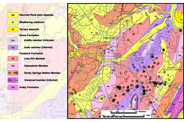 Fig. 2. On this geologic map of the Frederick, MD, area, note the prevalence of sinkholes (circles with hachures) in the Lime Kiln Member of the Frederick Formation. Credit: D.K. Brezinski