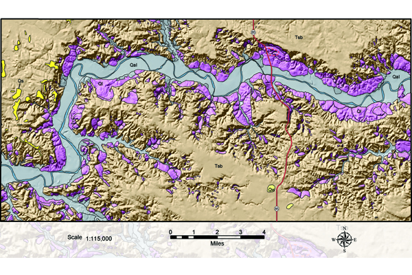 Fig. 2. Landslides are most prevalent along the sides of the Little Missouri River Valley (A), and landslide complexes may extend for more than five miles (B).  Credit: Geology by E. Murphy; E. Kadrmas, compiler