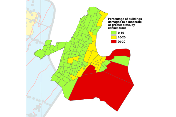 Fig. 4. A computer model commissioned by the Federal Emergency Management Agency and now used as a nationwide standard analyzes earthquake factors on a census-tract basis to generate damage estimates. Credit: N.J. Geological Survey