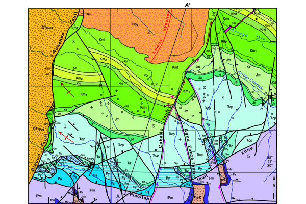Fig. 3. A portion of the geologic map of the Placitas area shows that major faults and structures have disrupted the largely sedimentary formations. Red arrows mark the preferential groundwater flow pathways. Credit: New Mexico Bureau of Geology and Miner