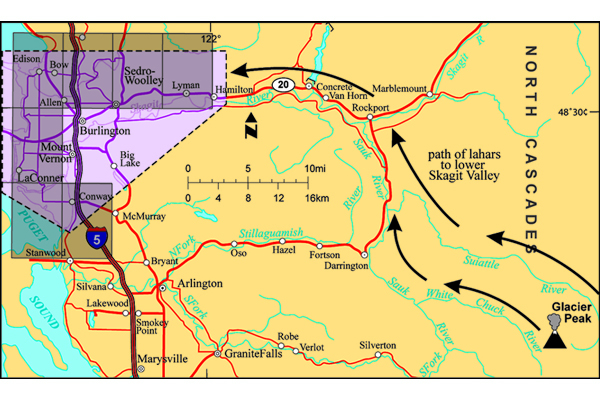 Fig. 4.  Note the location of Glacier Peak volcano and the path lahars have taken down stream valleys to reach the plain of the lower Skagit Valley. Gray rectangles indicate geologic mapping study area. Credit: Dragovich et al. (2000)
