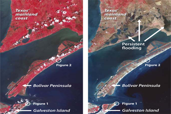 Pre-Ike (left) and post-Ike (right) ASTER imagery of Galveston Island, the Bolívar Peninsula, and the mainland in August 2006. Healthy (red) and dead (brown) vegetation shows storm surge inundation effects. Image Credit: Jesse Allen, NASA Earth Obsevatory