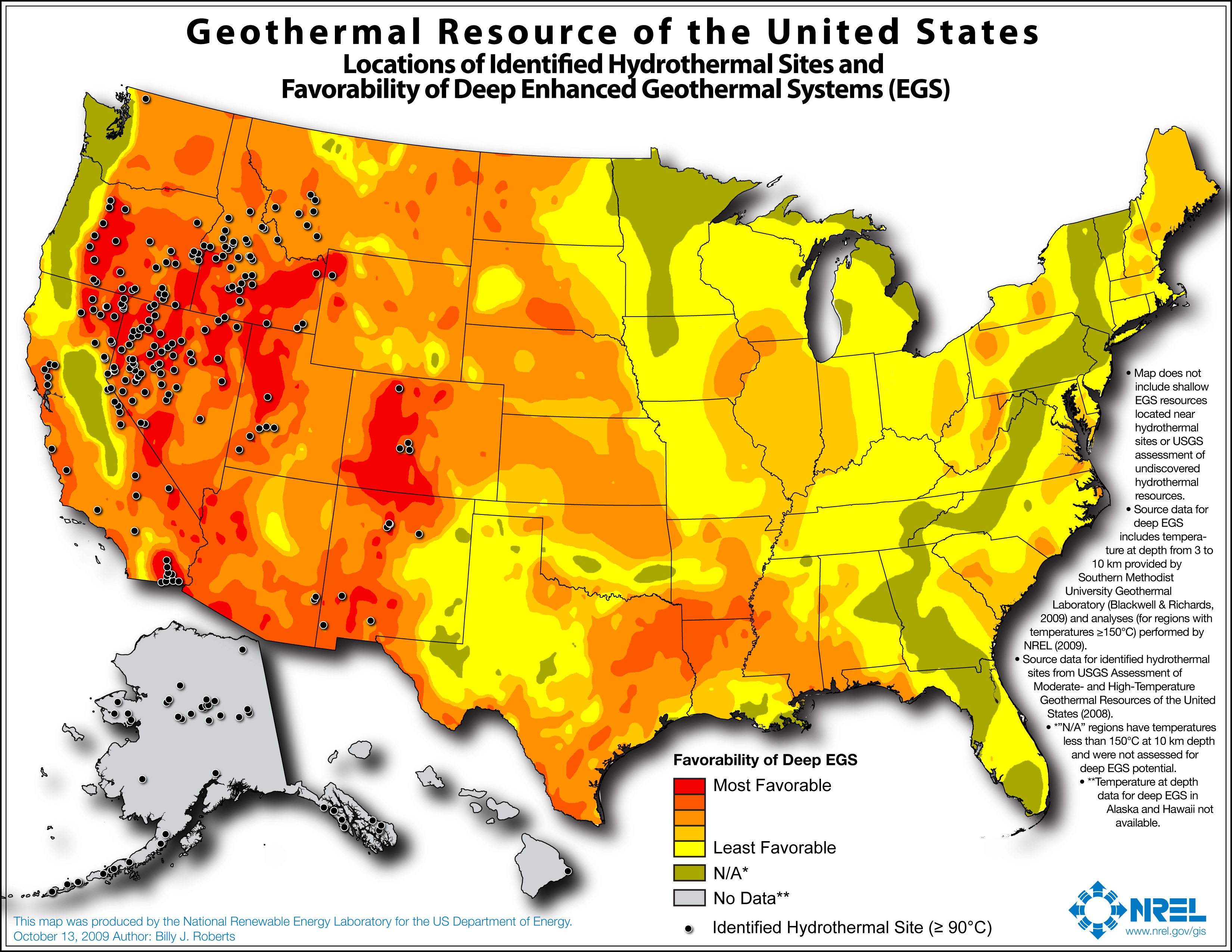 Map of potential geothermal resources across the United States