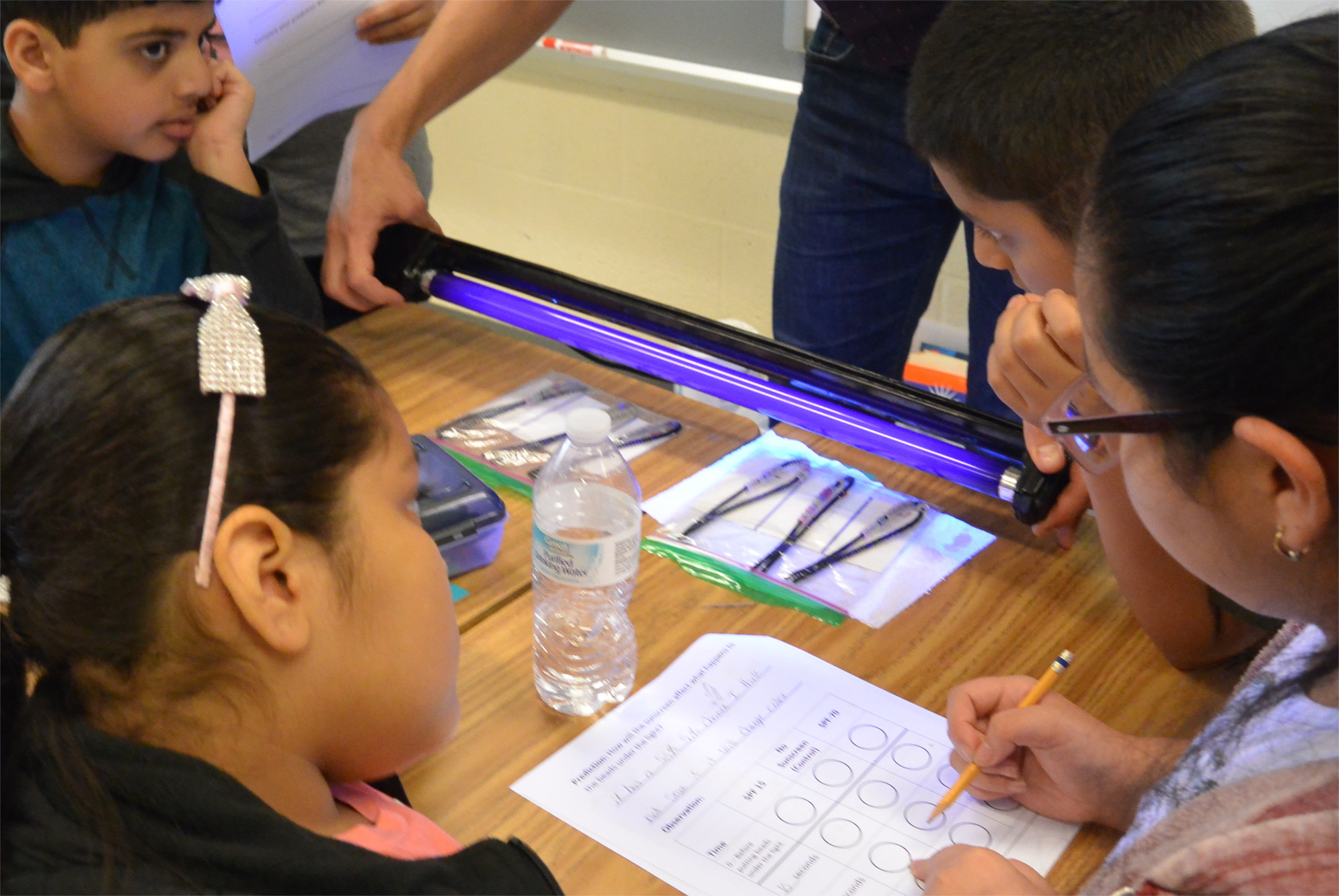 A black light is being held over a variety of bagged strings. Students observe.