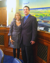 Aaron Rodriguez with U.S. Geological Survey Director Marcia McNutt.