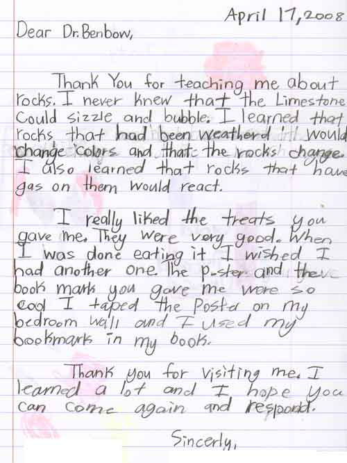How to write a feedback letter to a teacher image collections follow up american geosciences institute a letter from an elementary student thanking a visiting scientist for spiritdancerdesigns Choice Image