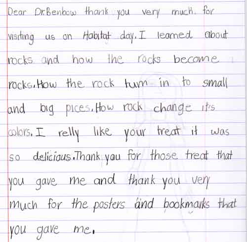 ... A Letter From An Elementary Student Thanking A Visiting Scientist For  Coming To The Classroom ...