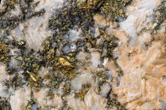 Image of chalcopyrite, a common copper iron sulfide mineral