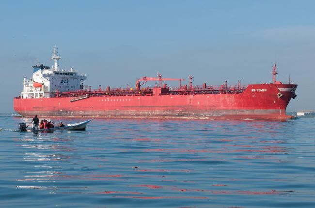 Most U.S. oil imports and exports (except for those with Canada and Mexico) travel by ship, such as this oil tanker on Lake Maracaibo, Venezuela