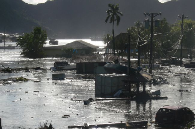 Inundation at Pago Pago, American Samoa, from the 2009 Samoa tsunami. Image Credit: NOAA/NGDC
