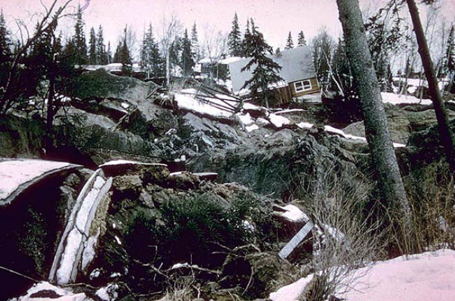 Turnagain Heights landslide in Anchorage, which caused damage to 75 homes. The landslide was triggered by the Alaska earthquake of 1964. Image Credit: NOAA National Geophysical Data Center