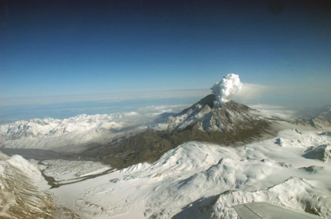 Ash from Mt. Redoubt, a remote volcano in Alaska, can threaten many aviation routes.Image Credit: U.S. Geological Survey/Photo by R.G. McGinsey