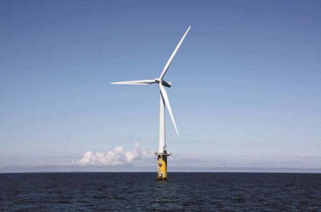 An early example of a floating offshore wind turbine. Image Credit: NREL/Photo by Senu Sirnivas