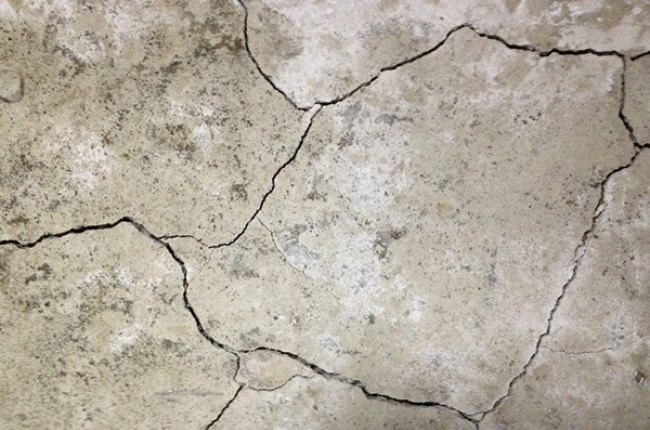 Photograph of concrete cracked by pyrrhotite breakdown