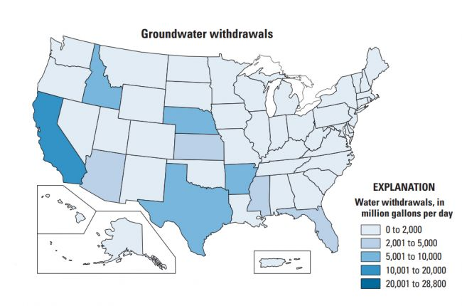 Map of groundwater withdrawals by U.S. state in 2015. Image Credit: U.S. Geological Survey