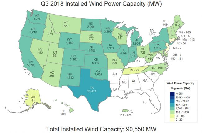 Map of wind power capacity in each U.S. state | American Geosciences ...