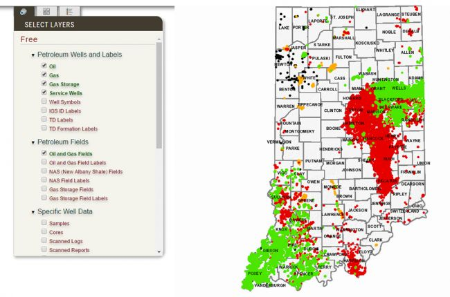 Screenshot of the interactive map of oil and gas wells in Indiana