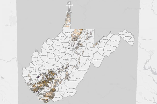 Screenshot of the WVGES interactive map of coal mines in West Virginia