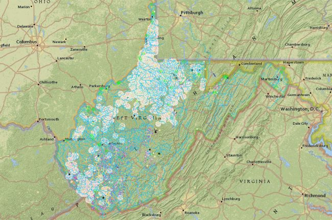 Screenshot of interactive map of environmental information in West Virginia