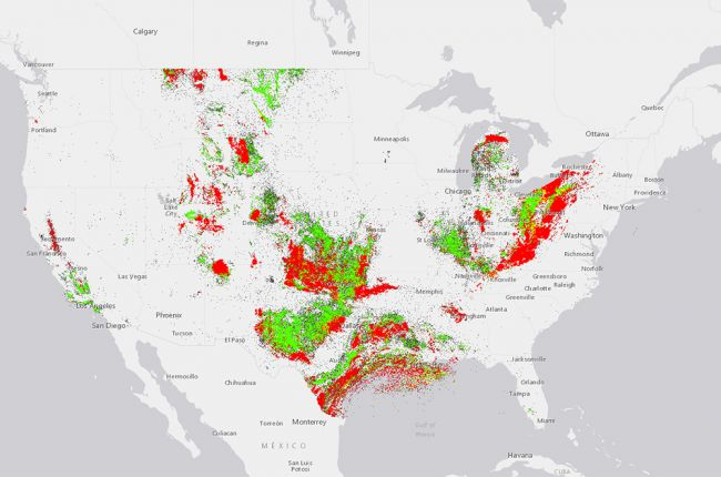 Screenshot of the interactive USGS map of historical oil and gas production in the United States