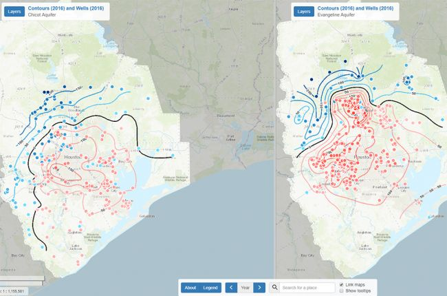 Interactive map of groundwater levels and subsidence in the Houston
