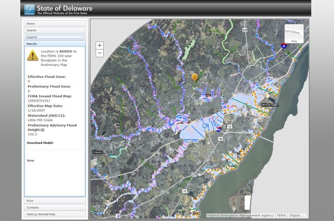 Screenshot of Delaware Flood Tool
