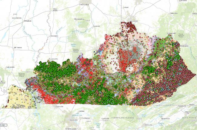 Interactive map of Kentuckys geology and natural resources