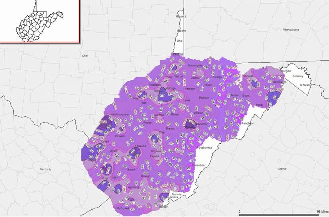 Screenshot of the WVGES interactive map of geothermal resources in West Virginia