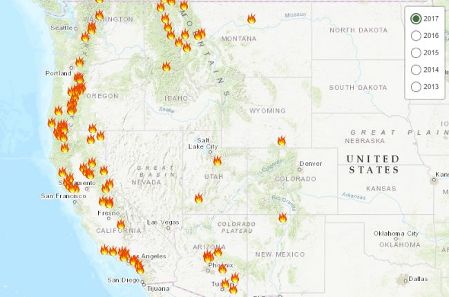 Map Of Fires In The Western Us Interactive map of post fire debris flow hazards in the Western