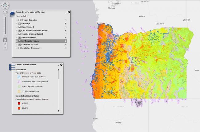 Screenshot of Oregon HazVu map