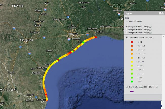 Screenshot of the interactive map of shoreline change in Texas