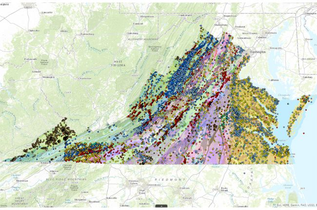Interactive map of Virginias geology and natural resources