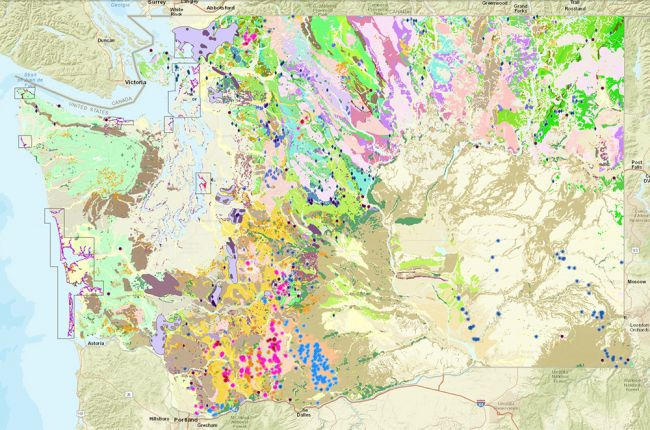 Interactive map of Washingtons geology and natural resources
