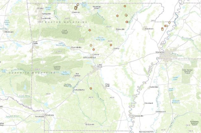 Screenshot of the interactive map of earthquakes in Arkansas