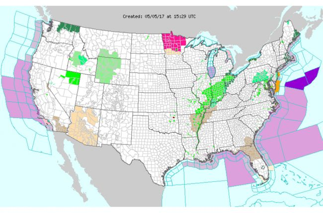 Interactive map of weather hazard warnings in the United States