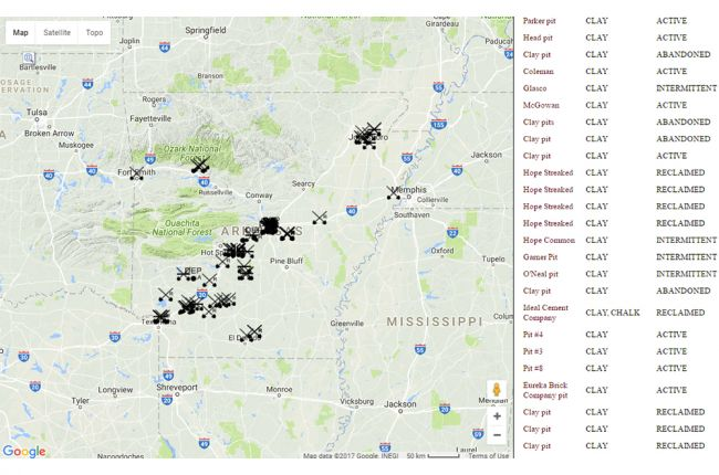 Interactive map of mineral resources in Arkansas | American ...