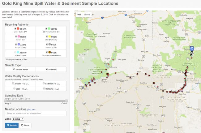Interactive Map Of Colorado's Gold King Mine Spill American: Map Of Colorado Gold Mine Spill At Usa Maps