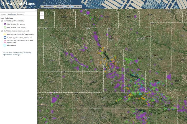 Screenshot of interactive map of Iowa coal mines