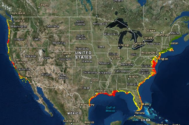 Screenshot of the USGS Coastal Change Hazards Portal map