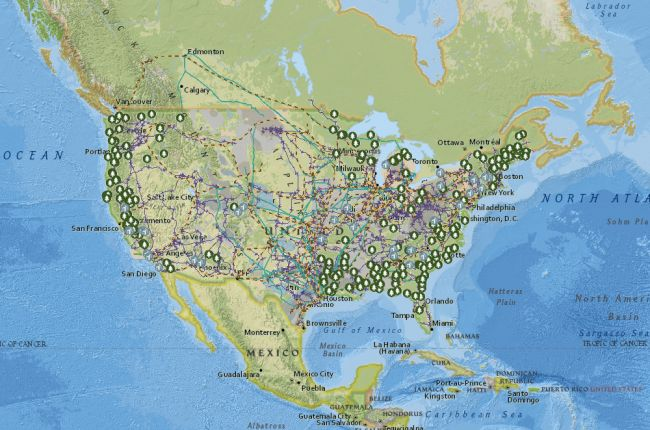 Interactive map of United States energy infrastructure and