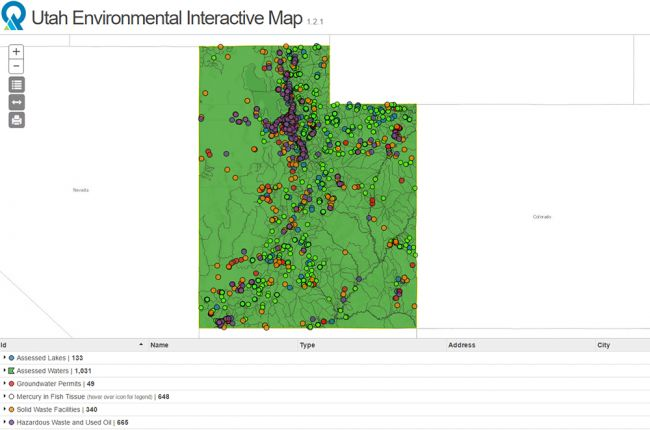 Screenshot of the Utah Environmental Interactive Map