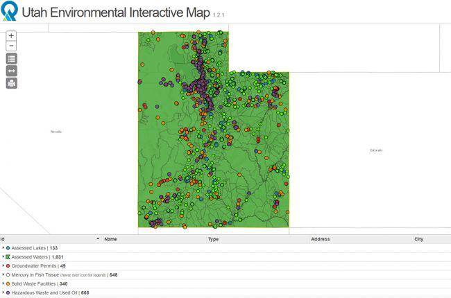 Interactive map of environmental monitoring and management in Utah ...