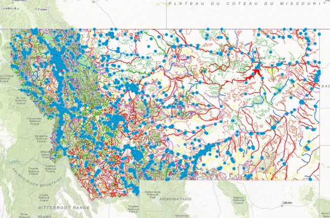 Screenshot of interactive map of environmental quality information in Montana