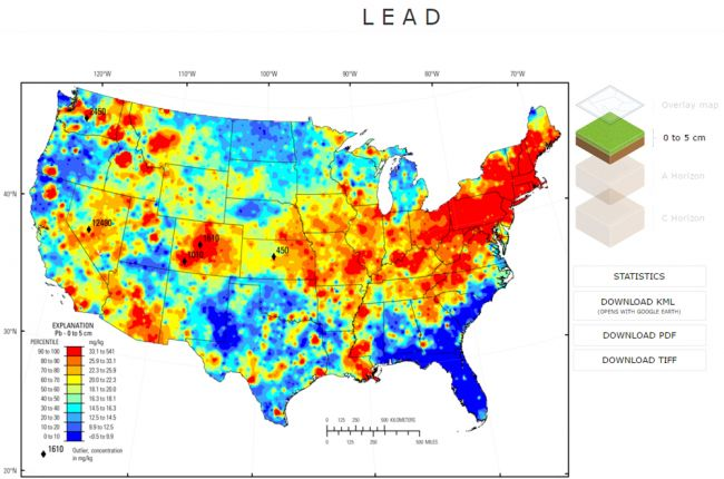 Interactive map of the chemistry and mineralogy of soils in the